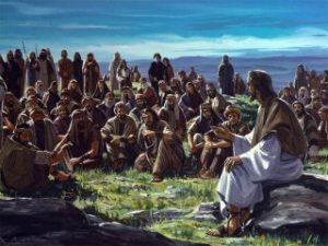 Jesus teaching on mountain
