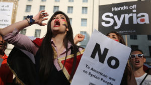 Protestors against war in Syria