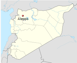 map of Aleppo in northern Syria